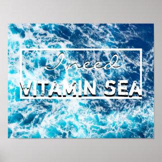 vitamin sea quote poster ocean wall art