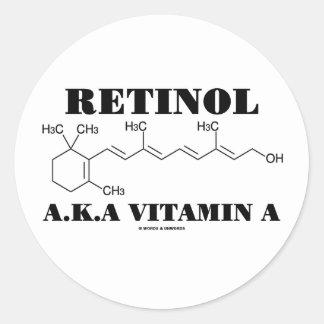 Vitamina A del retinol A.K.A. (molécula del Pegatina Redonda