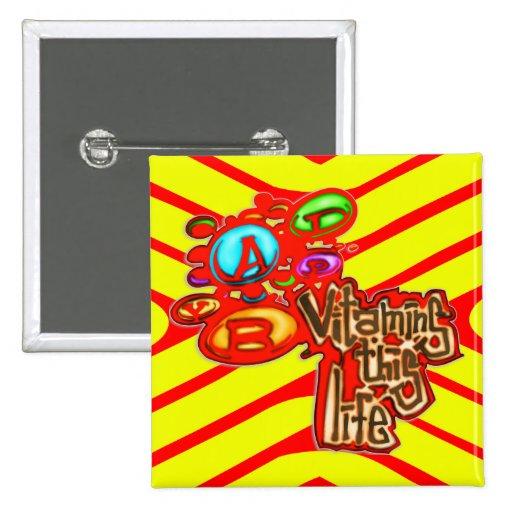 Vitamins 2 Inch Square Button