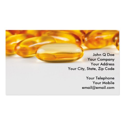 Vitamins and Health products Business Card Template