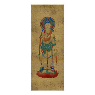 Vitarka Mudara Buddha Crackle Background Art Print