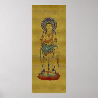 Vitarka Mudra Buddha Bamboo Background Art Print