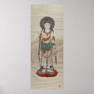 Vitarka Mudra Buddha Crackle Background Art Print