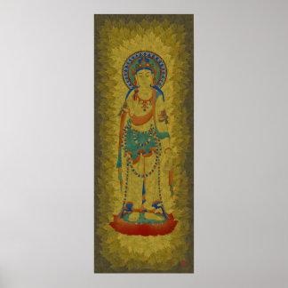 Vitarka Mudra Buddha Maple Leaf Background Art Posters