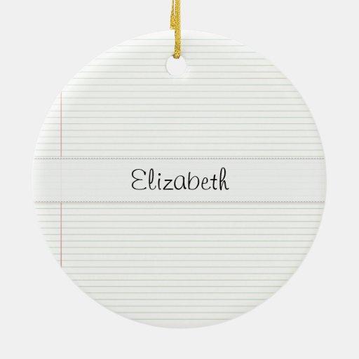 vitela cosida papel de carta viejo adorno navideño redondo de cerámica