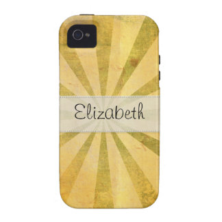 Vitela cosida resplandor solar amarillo del Grunge iPhone 4/4S Carcasa