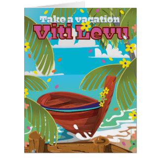 Viti Levu vacation travel poster. Card