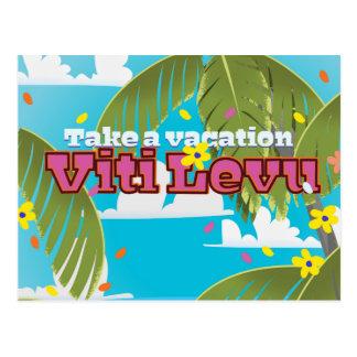Viti Levu vacation travel poster. Postcard
