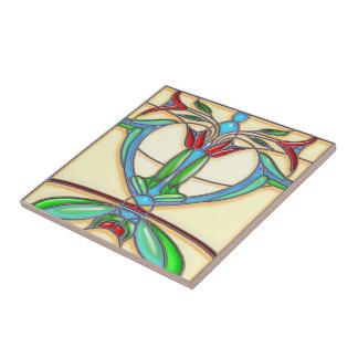 Vitral abstracto de los tulipanes del art déco teja cerámica