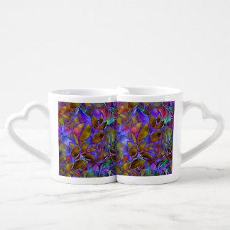 Vitral abstracto floral de la taza de los amantes tazas para enamorados