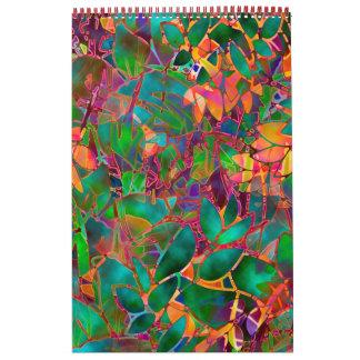 Vitral abstracto floral del calendario 2014