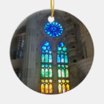 Vitral anaranjado y azul ornamentos de navidad