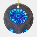 Vitral azul adorno redondo de cerámica