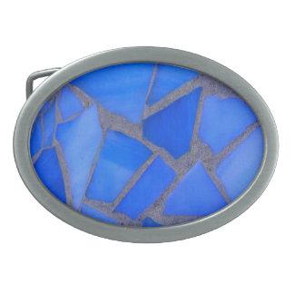 Vitral azul del mosaico de Lapis Hebillas De Cinturon Ovales