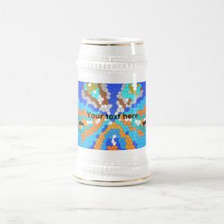 Vitral azul moderno fresco taza de café