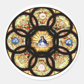 Vitral bendecido del Virgen María Pegatina Redonda