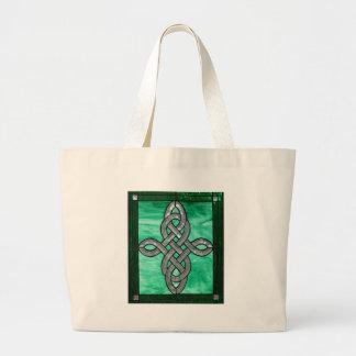 vitral céltico de la plata del verde del nudo bolsa