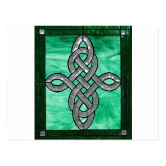 vitral céltico de la plata del verde del nudo tarjetas postales
