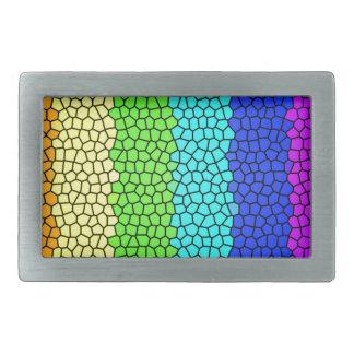 Vitral coloreado arco iris (horizontal) hebillas de cinturón rectangulares