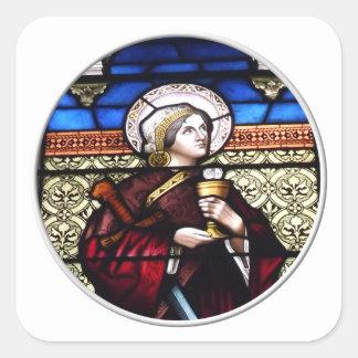 Vitral de Barbara del santo Pegatina Cuadrada