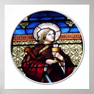 Vitral de Barbara del santo Póster