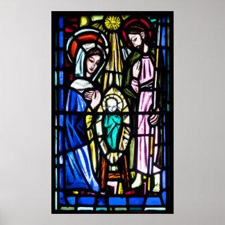 Vitral de Jesús del bebé de la iglesia de San Migu Póster