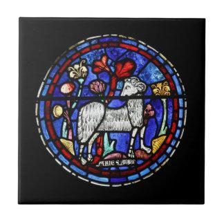 Vitral de la astrología del aries - baldosa azulejo cuadrado pequeño