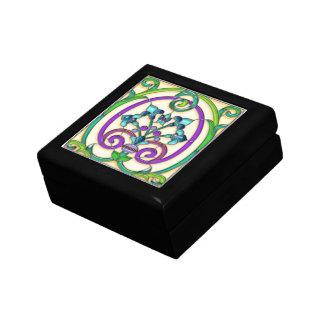 Vitral de la flor de lis del art déco cajas de regalo