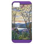 Vitral de la magnolia y del iris iPhone 5 carcasa