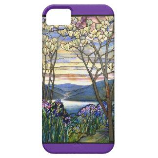 Vitral de la magnolia y del iris iPhone 5 fundas