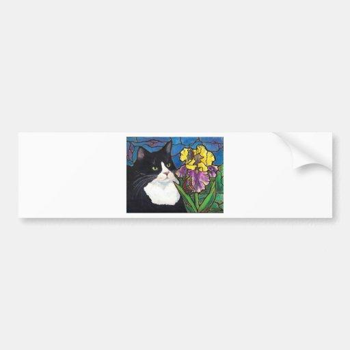 Vitral de la mariposa de la flor del iris del gato pegatina de parachoque
