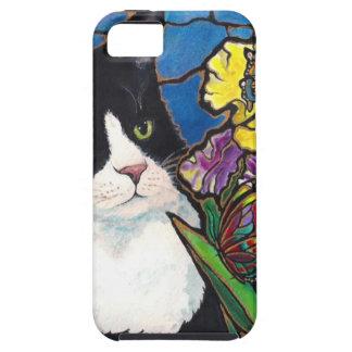 Vitral de la mariposa de la flor del iris del gato funda para iPhone SE/5/5s