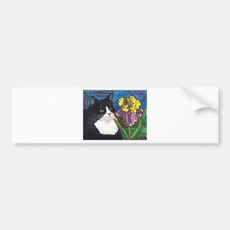 Vitral de la mariposa de la flor del iris del gato pegatina para auto