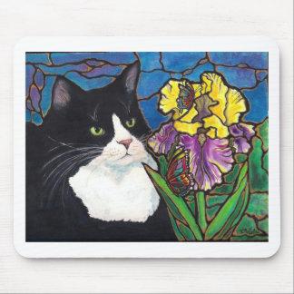 Vitral de la mariposa de la flor del iris del gato alfombrilla de raton