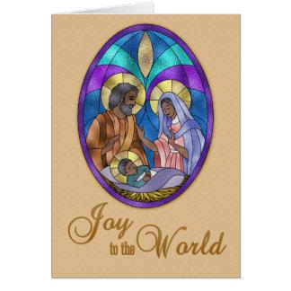 Vitral de la natividad, oscuridad pelada, navidad tarjeta de felicitación