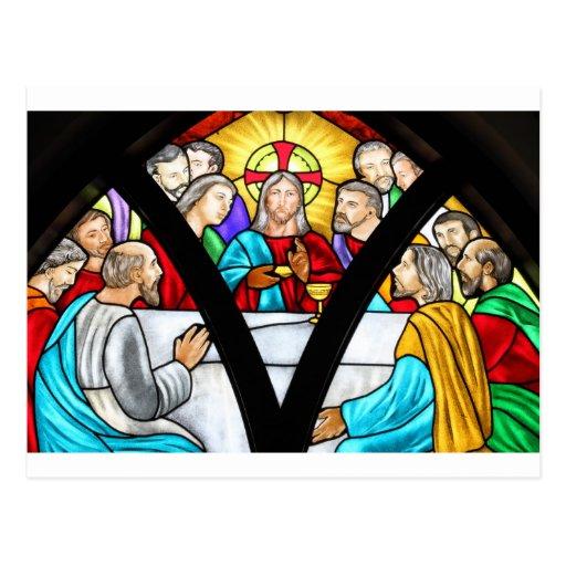 Vitral de la última cena del Jesucristo Postales