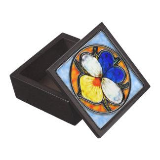 Vitral de la viola caja de joyas de calidad