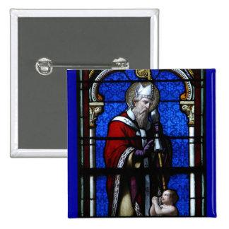 Vitral de las bendiciones de Nicholas del santo Pin Cuadrada 5 Cm