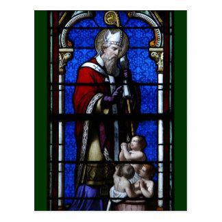 Vitral de las bendiciones de Nicholas del santo Postales