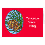 Vitral de Pinecone del invierno Felicitacion