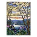 Vitral de Tiffany de la magnolia y del iris