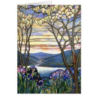 Vitral de Tiffany de la magnolia y del iris Tarjeta