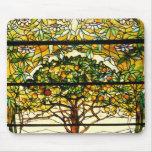 Vitral del árbol frutal de Louis Tiffany Mousepad Alfombrilla De Raton