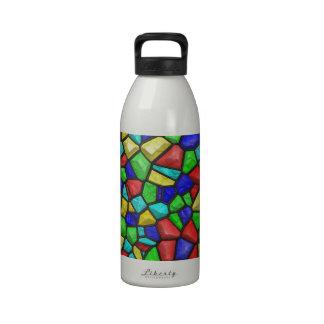 Vitral del mosaico. Modelo retro del vintage Botellas De Beber