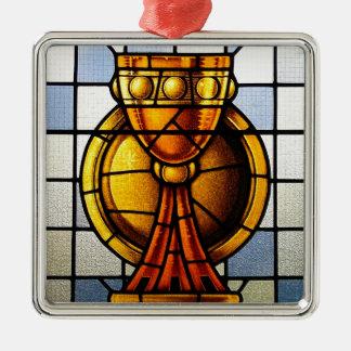 Vitral del santo grial - sacramento adorno navideño cuadrado de metal