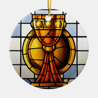 Vitral del santo grial - sacramento adorno navideño redondo de cerámica