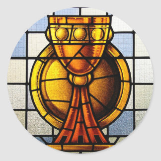 Vitral del santo grial - sacramento pegatina redonda