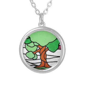 Vitral del vintage del árbol el | circa 1920 collares personalizados