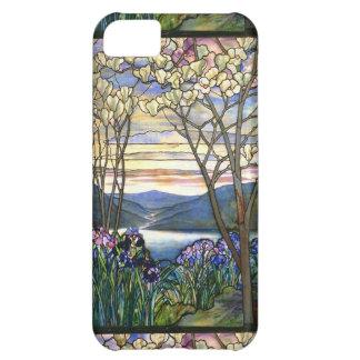 Vitral escénico de la magnolia y del iris funda para iPhone 5C