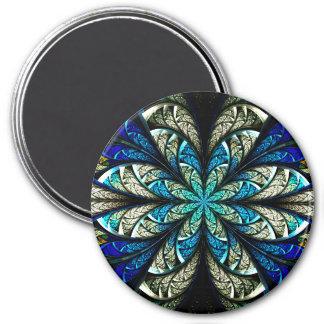 Vitral floral abstracto 2 imán de frigorifico
